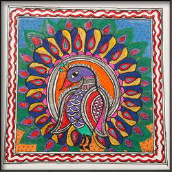 madhubani painting 2, 14 x 19 inch, pratibha kiran,folk art paintings,paintings for dining room,paintings for living room,paintings for bedroom,paintings for office,paintings for kids room,paintings for hotel,paintings for kitchen,paintings for school,paintings for hospital,madhubani paintings,handmade paper,acrylic color,14x19inch,GAL0639514777