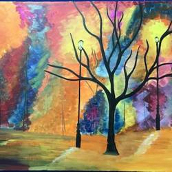 tree in city , 30 x 20 inch, richa  patel,abstract paintings,cityscape paintings,paintings for living room,paintings for bedroom,paintings for hotel,paintings for school,canvas,acrylic color,30x20inch,GAL0444314791
