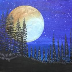 full moon, 30 x 20 inch, richa  patel,landscape paintings,nature paintings,paintings for living room,paintings for bedroom,paintings for hotel,paintings for school,canvas,acrylic color,30x20inch,GAL0444314793Nature,environment,Beauty,scenery,greenery