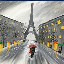 paris, 30 x 20 inch, richa  patel,landscape paintings,paintings for dining room,paintings for bedroom,paintings for hotel,canvas,acrylic color,30x20inch,GAL0444314794
