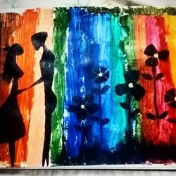 love, 12 x 16 inch, ron haribabu,paintings,abstract paintings,paintings for dining room,paintings for living room,canvas,acrylic color,12x16inch,GAL0641014798