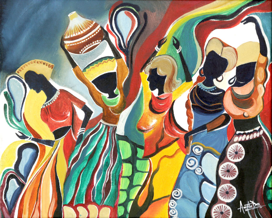 carnival, 19 x 22 inch, amrita das,modern art paintings,paintings for bedroom,folk art paintings,paintings for dining room,paintings for living room,paintings for hotel,canvas,oil,19x22inch,GAL050148