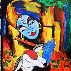 krishna, 12 x 16 inch, ron haribabu,paintings,religious paintings,canvas,acrylic color,12x16inch,GAL0641014800