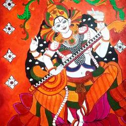 saraswathy, 12 x 16 inch, ron haribabu,paintings,religious paintings,canvas,acrylic color,12x16inch,GAL0641014802