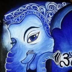 ganapathy, 12 x 16 inch, ron haribabu,paintings,religious paintings,canvas,acrylic color,12x16inch,GAL0641014803