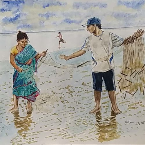 fisher couple, 14 x 11 inch, atanu chattopadhaya,paintings,realistic paintings,paintings for living room,paintings for living room,drawing paper,watercolor,14x11inch,GAL0641214805