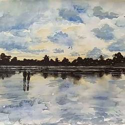 reflection, 15 x 11 inch, atanu chattopadhaya,paintings,landscape paintings,realistic paintings,love paintings,paintings for living room,paintings for bedroom,paintings for hotel,drawing paper,watercolor,15x11inch,GAL0641214806