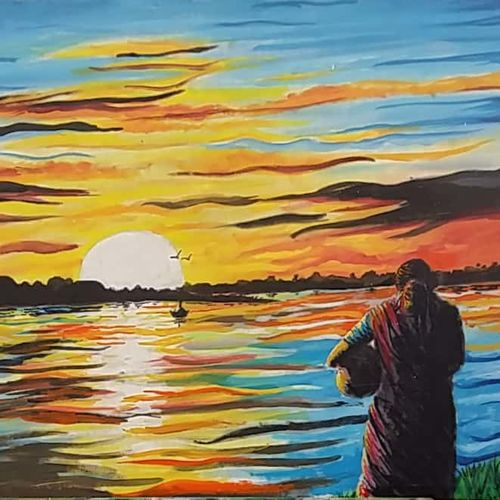 sunset, 32 x 24 inch, atanu chattopadhaya,paintings,landscape paintings,nature paintings,cloth,acrylic color,32x24inch,GAL0641214807Nature,environment,Beauty,scenery,greenery