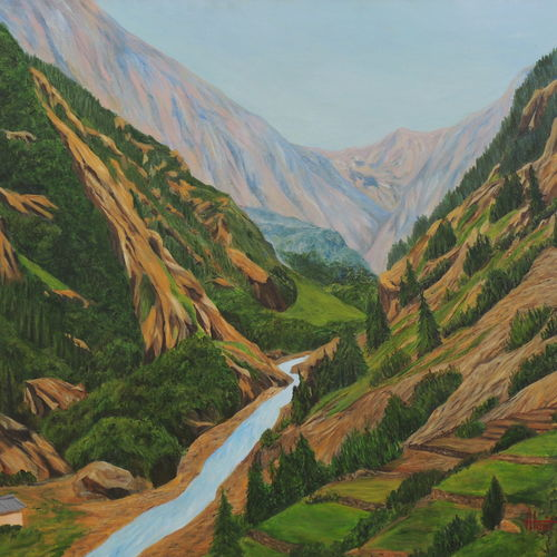 way to gangotri ii, 45 x 30 inch, ajay harit,paintings,landscape paintings,nature paintings,expressionist paintings,photorealism paintings,photorealism,realism paintings,paintings for dining room,paintings for living room,paintings for bedroom,paintings for office,paintings for hotel,paintings for hospital,paintings for dining room,paintings for living room,paintings for bedroom,paintings for office,paintings for hotel,paintings for hospital,canvas,oil,45x30inch,GAL0199814813Nature,environment,Beauty,scenery,greenery