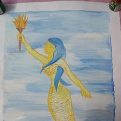 the mermaid, 25 x 32 inch, nisha singh,paintings,figurative paintings,paintings for dining room,paintings for living room,paintings for bedroom,paintings for dining room,paintings for living room,paintings for bedroom,paper,watercolor,25x32inch,GAL0642314817