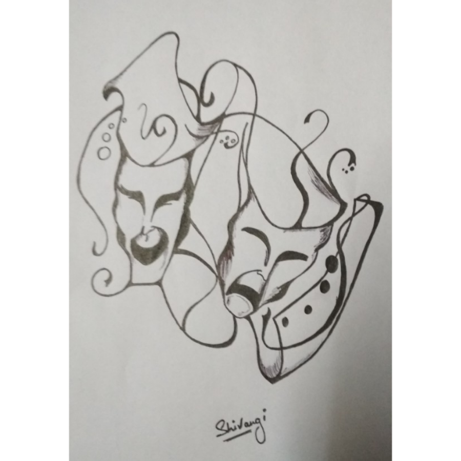 #smile now cry later#, 8 x 12 inch, shivangi  sharma,abstract drawings,expressionist drawings,fine art drawings,paintings for dining room,paintings for living room,paintings for bedroom,paintings for office,paintings for hotel,drawing paper,ball point pen,graphite pencil,8x12inch,GAL0601914822