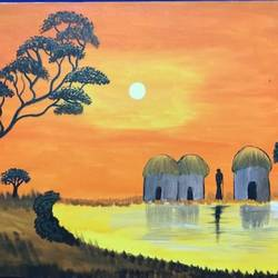 sunset, 30 x 20 inch, richa  patel,landscape paintings,paintings for dining room,paintings for living room,paintings for bedroom,paintings for office,paintings for hotel,paintings for school,canvas,acrylic color,30x20inch,GAL0444314827