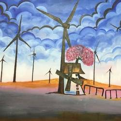 windmill, 30 x 20 inch, richa  patel,landscape paintings,paintings for dining room,paintings for living room,paintings for bedroom,paintings for office,paintings for hotel,paintings for school,canvas,acrylic color,30x20inch,GAL0444314829