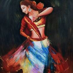 dancing indian lady, 24 x 30 inch, jui shah,paintings,figurative paintings,portraiture,realistic paintings,paintings for living room,paintings for bedroom,canvas,oil,24x30inch,GAL0644814833