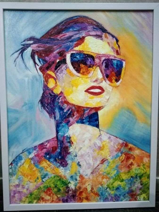 knife pop art portrait, 18 x 24 inch, jui shah,paintings,modern art paintings,pop art paintings,portraiture,contemporary paintings,paintings for bedroom,paintings for kids room,paintings for hotel,canvas,oil,18x24inch,GAL0644814835