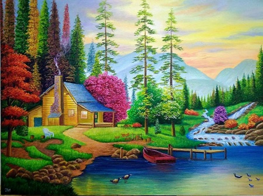 landscape nature, 36 x 24 inch, jui shah,landscape paintings,nature paintings,paintings for living room,paintings for bedroom,paintings for office,paintings for hotel,paintings for school,paintings for hospital,canvas,oil,36x24inch,GAL0644814836Nature,environment,Beauty,scenery,greenery,tree,house,mountain,water,flower,bird,boat,river,lake,valley,path