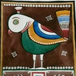 jamini roy style bird, 11 x 15 inch, puspita chakraborty,paintings for dining room,paintings for living room,paintings for bedroom,paintings for dining room,paintings for living room,paintings for bedroom,animal paintings,paper,watercolor,11x15inch,GAL0638314839