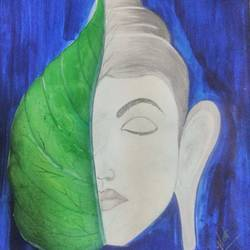 buddha leaf, 13 x 13 inch, mrunal warghat,paintings,buddha paintings,paper,poster color,13x13inch,religious,peace,meditation,meditating,gautam,goutam,buddha,lord,leaf,blue,white,face,GAL0645014844