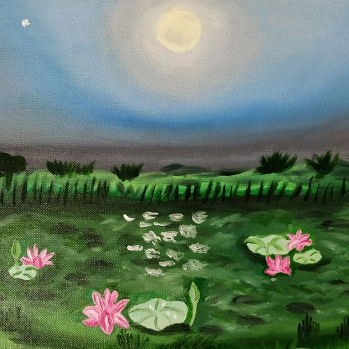 moonlight, 12 x 8 inch, suchitra tata,paintings,landscape paintings,paintings for living room,paintings for hotel,paintings for living room,paintings for hotel,paper,oil,12x8inch,GAL0288614869