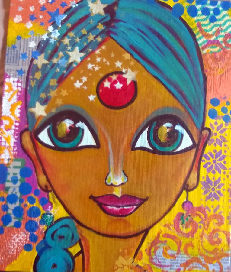 sunaina, 10 x 12 inch, baljeet  panaich,pop art paintings,paintings for living room,canvas,acrylic color,10x12inch,GAL06081487