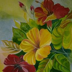 flowers, 9 x 15 inch, puja nag,paintings,flower paintings,paintings for living room,paintings for living room,handmade paper,watercolor,9x15inch,GAL091914871
