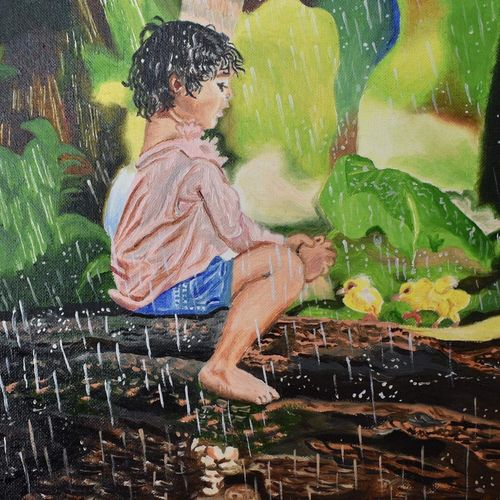 boy in forest, 8 x 12 inch, suchitra tata,paintings,nature paintings,paintings for dining room,paintings for living room,paintings for bedroom,paintings for hotel,paper,oil,8x12inch,GAL0288614872Nature,environment,Beauty,scenery,greenery