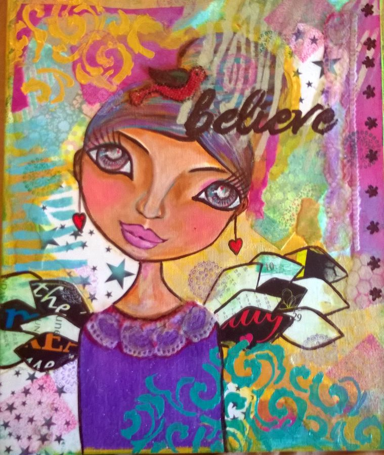 believe, 10 x 12 inch, baljeet  panaich,pop art paintings,paintings for living room,canvas,mixed media,10x12inch,GAL06081488