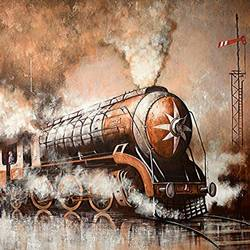 nostalgia of steam locomotives 43, 58 x 37 inch, kishore pratim biswas,paintings,landscape paintings,impressionist paintings,paintings for dining room,paintings for living room,paintings for office,paintings for hotel,paintings for school,paintings for dining room,paintings for living room,paintings for office,paintings for hotel,paintings for school,canvas,acrylic color,58x37inch,GAL0106014887