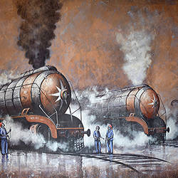 nostalgia of steam locomotives 41, 67 x 37 inch, kishore pratim biswas,paintings,landscape paintings,impressionist paintings,paintings for dining room,paintings for living room,paintings for office,paintings for hotel,paintings for school,canvas,acrylic color,67x37inch,GAL0106014888
