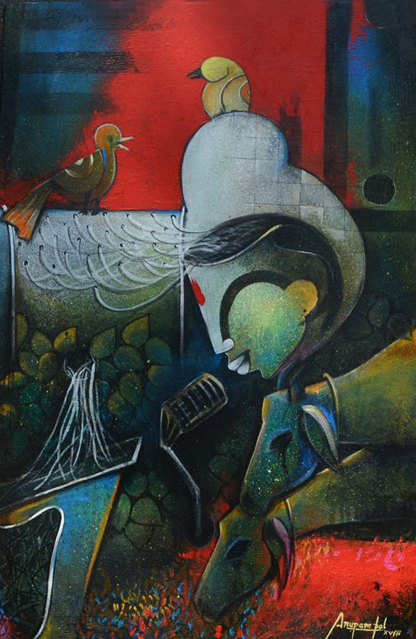 the meeting , 24 x 36 inch, anupam  pal,paintings,abstract paintings,wildlife paintings,figurative paintings,paintings for dining room,paintings for living room,paintings for office,paintings for bathroom,paintings for kids room,paintings for hotel,paintings for kitchen,paintings for school,paintings for hospital,canvas,mixed media,24x36inch,GAL08214893