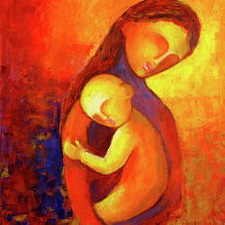 love of mother , 48 x 48 inch, sunita  singh,abstract paintings,paintings for office,paintings for office,canvas,pastel color,48x48inch,GAL0644014896