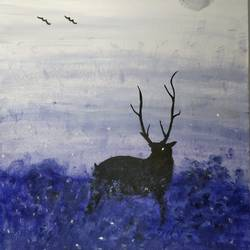 stag in the dark, 16 x 20 inch, aishwarya pesala,paintings,wildlife paintings,modern art paintings,paintings for dining room,paintings for living room,paintings for bedroom,paintings for office,paintings for hotel,paintings for school,paintings for dining room,paintings for living room,paintings for bedroom,paintings for office,paintings for hotel,paintings for school,canvas,acrylic color,16x20inch,GAL0649814902