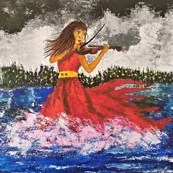 music and splashes, 11 x 13 inch, aruna asaf ali,paintings,art deco paintings,paintings for dining room,paintings for living room,paintings for bedroom,paintings for office,paintings for kids room,paintings for hotel,canvas,acrylic color,11x13inch,GAL0602714903