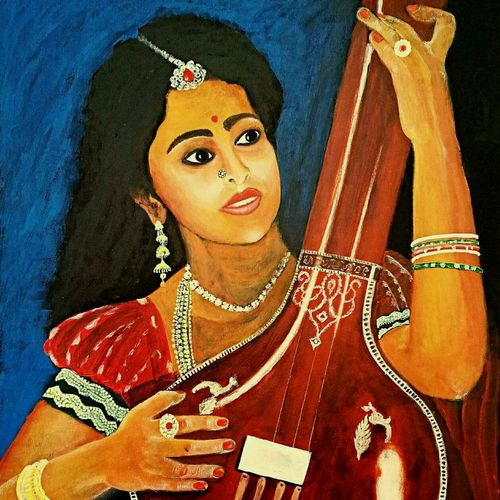 old tanpura, 14 x 19 inch, sudipto roy,paintings,figurative paintings,cartridge paper,acrylic color,14x19inch,GAL0650914908