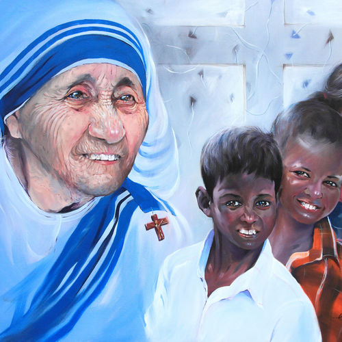 mother teresa-love and happiness, 48 x 36 inch, bijendra  pratap ,religious paintings,paintings for living room,mother teresa paintings,canvas,acrylic color,48x36inch,GAL04531491