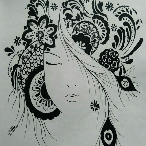 doodle art, 28 x 24 inch, subhashree sethy,drawings,paintings for living room,conceptual drawings,paintings for living room,renaissance watercolor paper,ink color,28x24inch,GAL0650214923