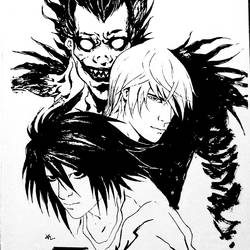 deathnote, 8 x 12 inch, satya vishal pyla,drawings,abstract drawings,expressionist drawings,fine art drawings,modern drawings,portrait drawings,kids drawings,paintings for living room,paintings for kids room,paper,ink color,pen color,8x12inch,GAL0651814924