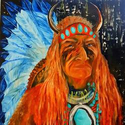 the red indian, 36 x 48 inch, manju  kiran ,paintings,portrait paintings,paintings for living room,paintings for hotel,canvas board,oil,36x48inch,GAL0654814946