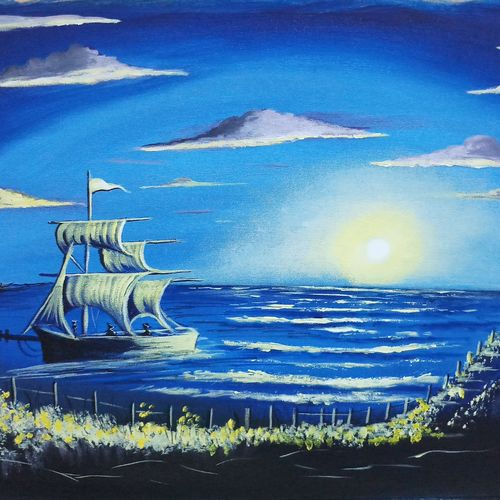 beautiful skyview with boat at night , 18 x 24 inch, sandhya kumari,paintings,landscape paintings,nature paintings,paintings for dining room,paintings for living room,paintings for office,paintings for bathroom,paintings for kids room,paintings for hotel,paintings for school,paintings for hospital,canvas,acrylic color,18x24inch,GAL0365914950Nature,environment,Beauty,scenery,greenery