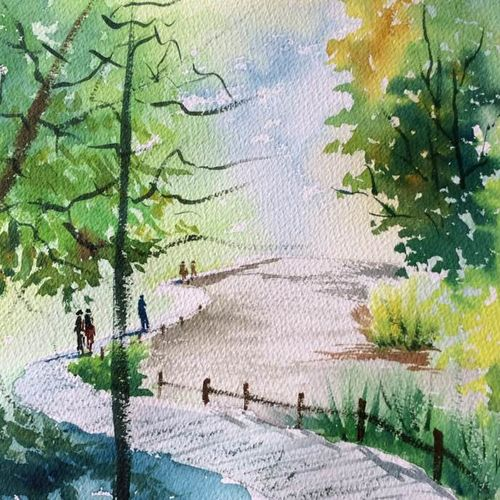 a pleasant walkway, 11 x 8 inch, dipankar  biswas,paintings,landscape paintings,paintings for living room,arches paper,watercolor,11x8inch,GAL0293214957