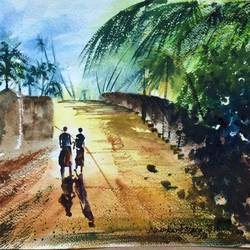 west bengal greens, 16 x 11 inch, dipankar  biswas,paintings,landscape paintings,paintings for living room,brustro watercolor paper,watercolor,16x11inch,GAL0293214958