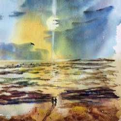 beauty of sea, 22 x 30 inch, dipankar  biswas,nature paintings,paintings for living room,handmade paper,watercolor,22x30inch,GAL0293214959Nature,environment,Beauty,scenery,greenery