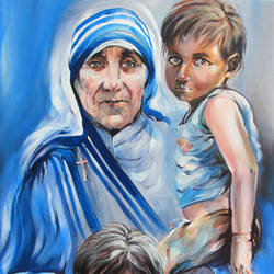 mother teresa -service to mankind is service to god, 24 x 36 inch, bijendra  pratap ,religious paintings,paintings for living room,mother teresa paintings,canvas,acrylic color,24x36inch,GAL04531496