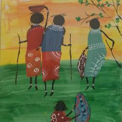 joint family , 20 x 22 inch, urvashi bhamblani,figurative paintings,ivory sheet,poster color,20x22inch,GAL0479114966