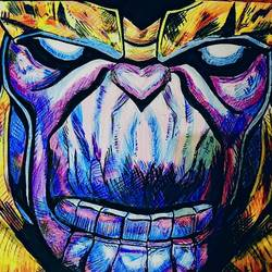 thanos, 14 x 11 inch, vaibhav sharma,drawings,paintings for kids room,impressionist drawings,modern drawings,pop art drawings,street art,paintings for kids room,drawing paper,pencil color,watercolor,14x11inch,GAL0656714967