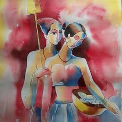 fisharman couple 3, 14 x 20 inch, bharat ghate,figurative paintings,paintings for living room,handmade paper,watercolor,14x20inch,GAL0182214970