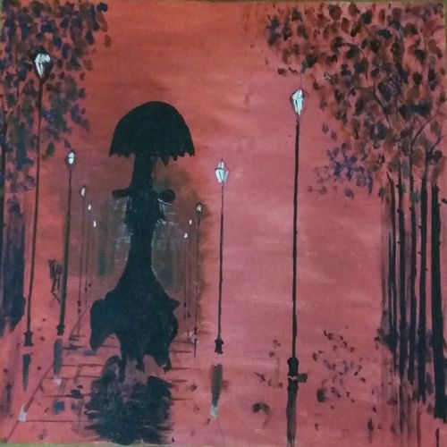 girls in evening rain, 18 x 12 inch, sandeep kumar,paintings,cityscape paintings,paintings for dining room,paintings for living room,paintings for bedroom,paintings for office,paintings for hotel,canvas,acrylic color,18x12inch,GAL0657414976