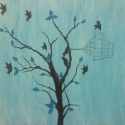 birds on tree, 9 x 12 inch, sandeep kumar,paintings,nature paintings,paintings for dining room,paintings for living room,paintings for bedroom,paintings for office,paintings for kids room,paintings for hotel,paintings for kitchen,paintings for school,canvas,acrylic color,pen color,9x12inch,GAL0657414978Nature,environment,Beauty,scenery,greenery