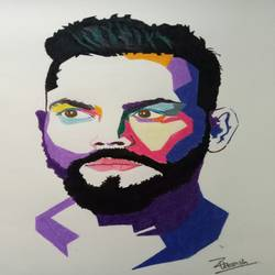 virat portrait, 12 x 17 inch, utkarsh khare,drawings,fine art drawings,modern drawings,portrait drawings,street art,paintings for dining room,paintings for living room,paintings for bedroom,paintings for kids room,paintings for hotel,paper,pencil color,watercolor,12x17inch,GAL0606114979