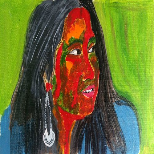 the colorful woman, 16 x 12 inch, abhik mahanti,paintings,figurative paintings,canvas,acrylic color,16x12inch,GAL0404414989